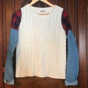 Noisy may Luisa White Knit Sweater Plaid/ Chambray